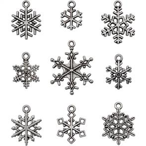 Idea-Ology  Tim Holtz -  Metal Adornments - Antique Nickel Snowflakes