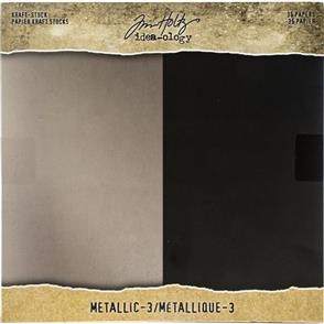 "Idea-Ology Tim Holtz - Kraft Metallic Paper Pad 8""X8"" - Metallic"