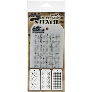 Stampers Anonymous  Tim Holtz - Mini Layered Stencil Set 3/Pkg - Set #44