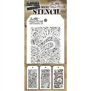 Stampers Anonymous  Tim Holtz - Mini Layered Stencil Set 3/Pkg - Set #47