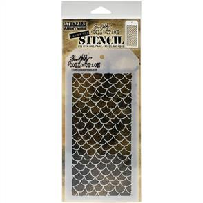 "Stampers Anonymous  Tim Holtz - Layered Stencil 4.125""X8.5"" - Scales -Layered"