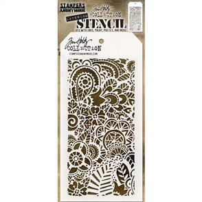 "Stampers Anonymous  Tim Holtz - Layered Stencil 4.125""X8.5"" - Doodle Art 2 -Layered"