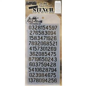 "Stampers Anonymous  Tim Holtz - Layered Stencil 4.125""X8.5"" - Digits -Layered"