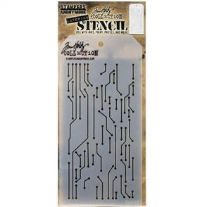 "Stampers Anonymous  Tim Holtz - Layered Stencil 4.125""X8.5"" - Circuit -Layered"