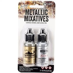 Ranger Ink  Tim Holtz Alcohol Ink Metallic Mixatives 2/Pkg - Gold & Silver