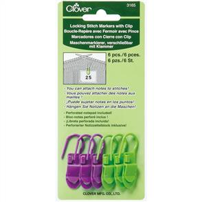 Clover  Locking Stitch Markers W/Clips 6/Pkg