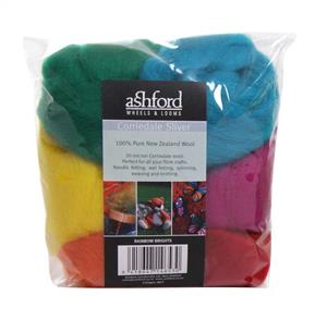 Ashford Corriedale Sliver Pack 7 Colour 100gm