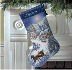 Dimensions  Sleigh Ride At Dusk Stocking - Cross Stitch Kit