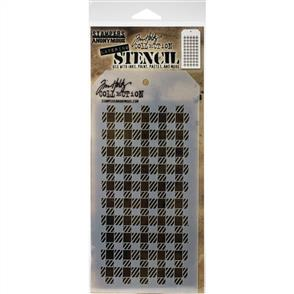 "Stampers Anonymous  Tim Holtz - Layered Stencil 4.125""X8.5"" - Gingham"