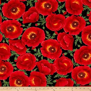 Timeless Treasures Fabric - Poppy Grove - 3884 Red