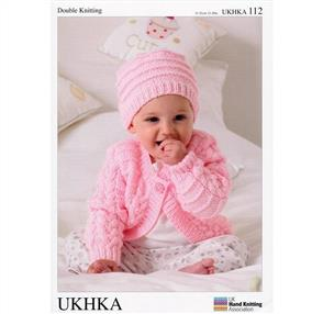 UKHKA Pattern 112 - Baby Cardigans, Hat and Blanket