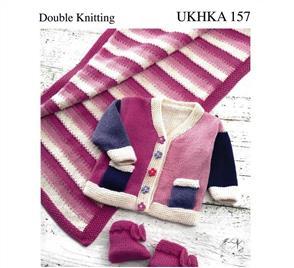 UKHKA Pattern 157 - Knitting Pattern Baby Jacket, Pram Rug and Bootees