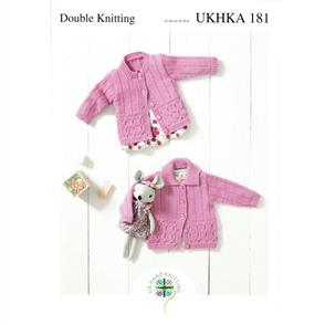 UKHKA Pattern - 181 Round Neck and Flat Collared Cardigans