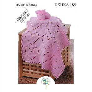 UKHKA Pattern 185 Crochet Heart Blanket and Bootees