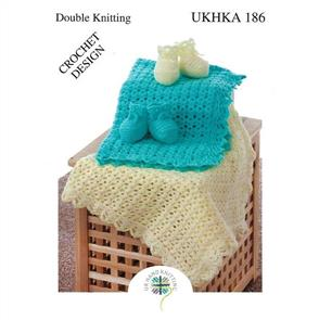 UKHKA Pattern 186 Crochet Blanket and Bootees