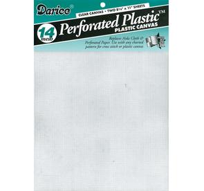 """Darice  Perforated Plastic Canvas 14 Count 8.5""""X11"""" 2/Pkg - White"""
