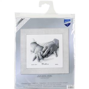 Vervaco  Baby Hands Birth Record On Aida Counted Cross Stitch Kit
