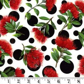 Nutex Spot on Kiwiana Fabric - White - 88310-101