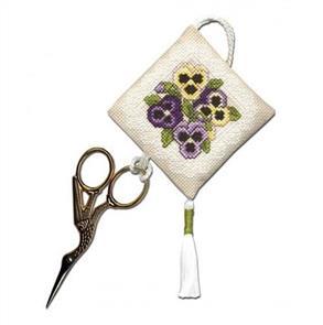 Textile Heritage  Cross Stitch Kit Scissor Keep - Victorian Pansies