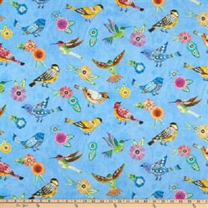 Wilmington Prints  Floral Flight - Birds Allover Blue