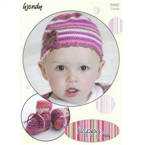 Wendy  Pattern 5462 Crochet Hat with Flower Trim and Bootees