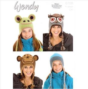 Wendy Pattern Crochet 5708 Animal Hats