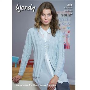 Wendy Pattern 5881 Short Sleeveless Sweater and Cardigan
