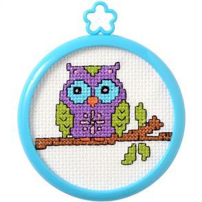 "Bucilla  My 1st Stitch Mini Counted Cross Stitch Kit 3"" Round - Owl On A Limb"