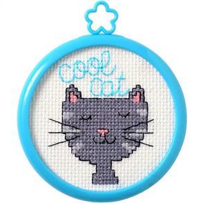 "Bucilla  My 1st Stitch Mini Counted Cross Stitch Kit 3"" - Cool Cat"