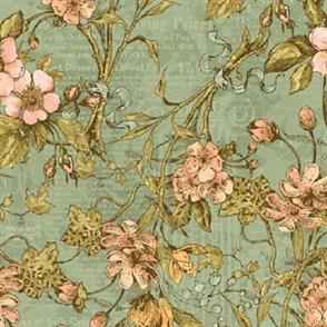 Wilmington Prints  A Ladies Diary - Delicate Details Aqua