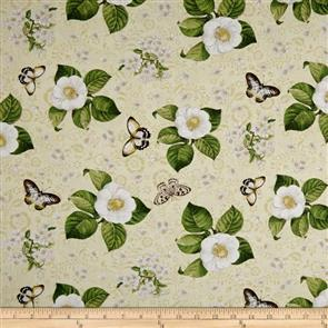Wilmington Prints  Chantrell - Magnolia & Butterflies Cream