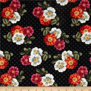 Wilmington Prints  Garden View - Wild Rose Black