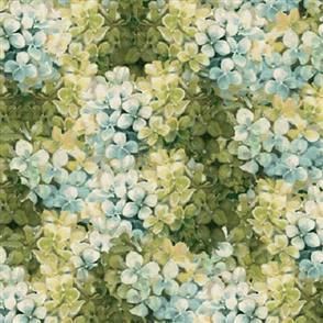 Wilmington Prints  Marche De Fleur - Hydrangeas Teal