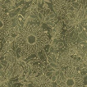 Wilmington Prints  Vintage Garden - Toile Green