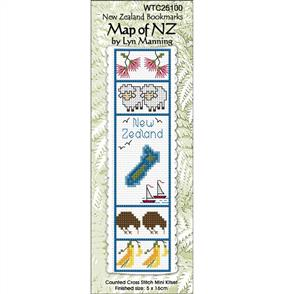 Lyn Manning  Cross Stitch Kit Bookmark - Map of NZ