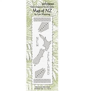Lyn Manning  Cross Stitch Kit - NZ Bookmarks: Map of NZ