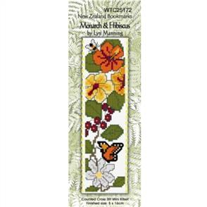 Lyn Manning  Cross Stitch Kit Bookmark - Monarch & Hibiscus