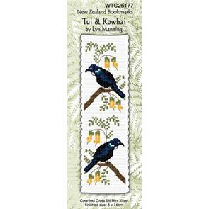 Lyn Manning  Bookmark Cross Stitch Kit - Tui & Kowhai