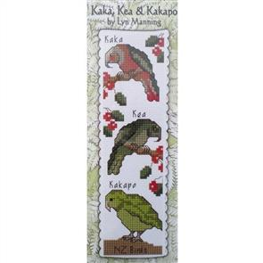 Lyn Manning  Cross Stitch Kit - Kaka, Kea, Kakapo - New Zealand Bookmarks