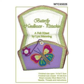Lyn Manning  Felt Needlecase Kit - Butterfly - Pistachio