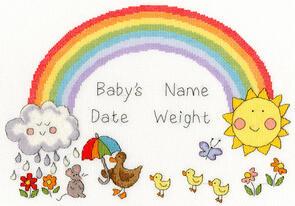 Bothy Threads  Cross Stitch Kit - Rainbow Baby - Birth Record