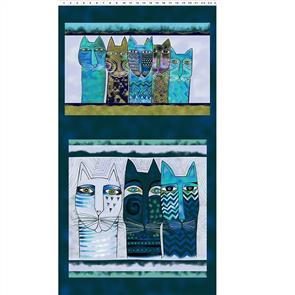 "Clothworks  Feline Frolic - Pillow Panel Teal 0.6m / 24"""