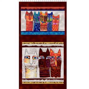 "Clothworks  Feline Frolic - Pillow Panel Brown 0.6m/ 24"""