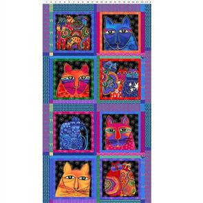 "Clothworks  Feline Frolic - Cat Blocks Panel 0.6m / 24"""