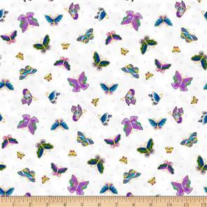 Clothworks Laurel Burch Feline Frolic - Butterflies White