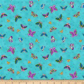 Clothworks Laurel Burch Feline Frolic - Butterflies Aqua