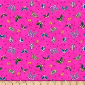 Clothworks Laurel Burch Feline Frolic - Butterflies Pink