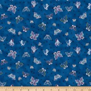 Clothworks Laurel Burch Feline Frolic - Butterflies Navy
