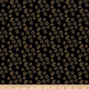 Clothworks Laurel Burch Feline Frolic - Swirls Black