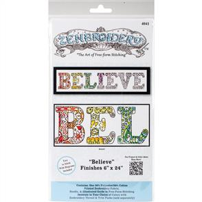 Design Works Zenbroidery Stamped Embroidery - Believe